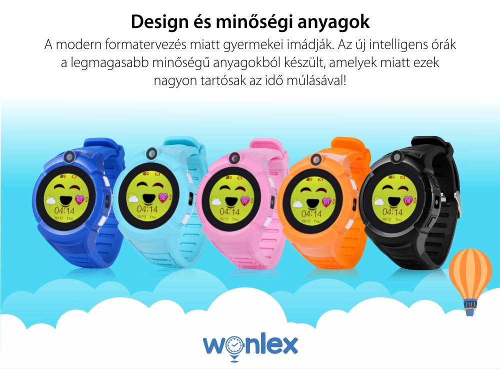 Promóciós csomag 2 Okosóra gyerekeknek Wonlex GW600-Q360 Tárcsázási funkcióval, GPS nyomkövető, Kamera, Zseblámpa, Lépésszámláló, SOS, Rózsaszín-Bleu