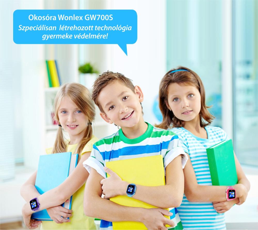 Okosóra gyerekeknek Wonlex GW700S Tárcsázási funkcióval, GPS nyomkövető, Lépésszámláló, SOS, IP54, Fekete-Piros
