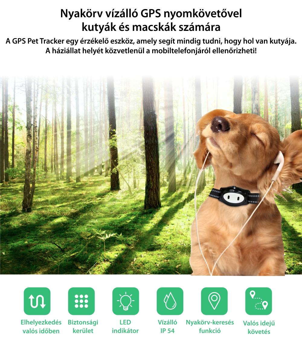 Nyomkövető nyakörv PT-02 állatoknak, Fekete-Szürke