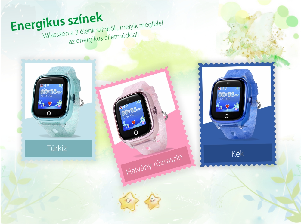 Okosóra gyerekeknek Wonlex KT01 Tárcsázási funkcióval, GPS nyomkövető, Kamera,Lépésszámláló, SOS, IP54, Rezgés funkció, Kék