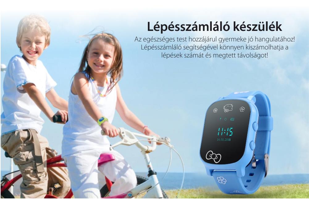 Okosóra gyerekeknek Wonlex GW700-T58 Tárcsázási funkcióval, GPS nyomkövető, Rózsaszín