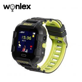 Okosóra gyerekeknek KT03 Wonlex Tárcsázási funkcióval, GPS nyomkövető, Kamera, Lépésszámláló, SOS, IP54, Fekete-Citrom zöld