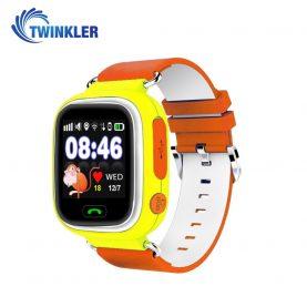 Okosóra gyerekeknek Twinkler TKY-Q90 Tárcsázási funkcióval, GPS nyomkövető, Lépésszámláló, SOS, Sárga