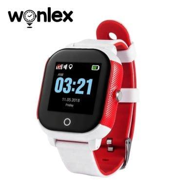 Okosóra gyerekeknek Wonlex GW700S Tárcsázási funkcióval, GPS nyomkövető, Lépésszámláló, SOS, IP54, Fehér-Piros