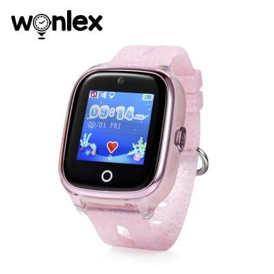 Okosóra gyerekeknek Wonlex KT01 Tárcsázási funkcióval, GPS nyomkövető, Kamera, Lépésszámláló, SOS, IP54, Rezgés funkció, Halvány Rózsaszín