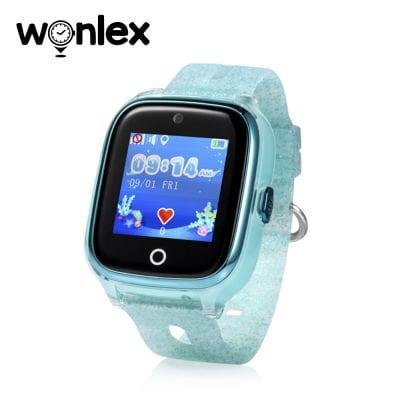 Okosóra gyerekeknek Wonlex KT01 Tárcsázási funkcióval, GPS nyomkövető, Kamera, Lépésszámláló, SOS, IP54, Rezgés funkció, Türkiz