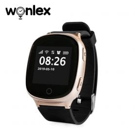 Okosóra felnőtteknek / idősebbeknek Wonlex EW100S Tárcsázási funkcióval, Impulzusérzékelő, GPS nyomkövető, Lépésszámláló, Arany színű
