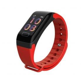 Intelligens fitnesz karkötő F1 Vérnyomás és pulzusmérővel, Piros