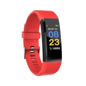 Intelligens fitnesz karkötő 15+ Vérnyomás és pulzusmérővel, Piros