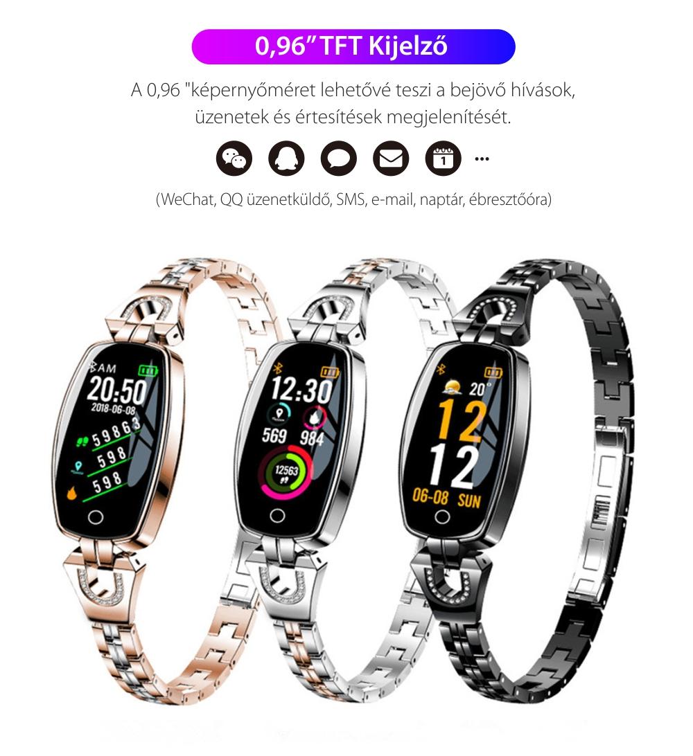 Okosóra fitnesz H8 Pulzusmérő funkció, Vérnyomásmérő funkció, Értesítések, Lépésszámláló, Bluetooth, Fém, Rózsaszín-Arany