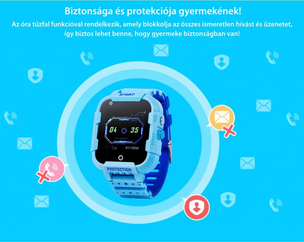 Okosóra gyerekeknek KT12 Wonlex Tárcsázási funkcióval, Videohívással, GPS Nyomkövetők, Kamera, Alvásminőség, Lépésszámláló, SOS, IP54, 4G, Rózsaszín