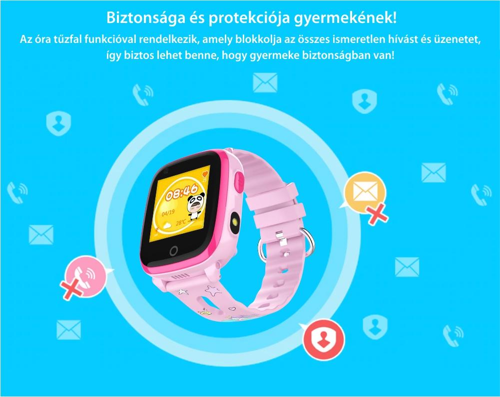 Okosóra gyerekeknek Twinkler TKY-DF33 Tárcsázási funkcióval, Videohívás, GPS Nyomkövetők, Kamera, Zseblámpa, SOS, Android, 4G, IP54, Lila