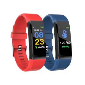 Promóciós csomag 2 Intelligens fitnesz karkötő l15+ Vérnyomás és pulzusszám méréssel, Piros – Kék