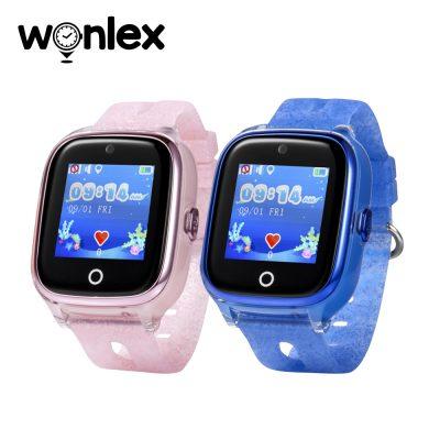 Promóciós csomag 2Db. Okosóra Wonlex KT01 Okosóra gyerekeknek Tárcsázási funkcióval, GPS Nyomkövetők, Kamera, Lépésszámláló, IP54, SOS, Rezgés funkció, Rózsaszín-Kék