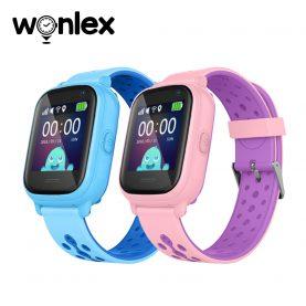 Promóciós csomag 2 Wonlex KT04 Okosóra gyerekeknek funkcionális telefonnal, GPS-vel, Kamerával, IP54, Rózsaszín – Kék