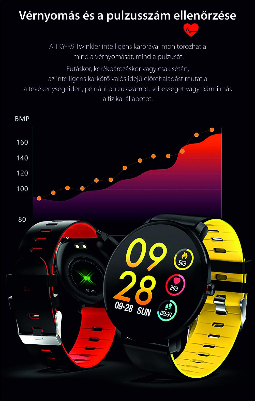 Okosóra TKY-K9 fitnesz, Fém, Pulzusmérő funkció, Vérnyomásmérő funkcióval, Alvásfigyelő, Hívás/SMS Értesítések, Véroxigénszint mérési funkcióval, Ezüst színű
