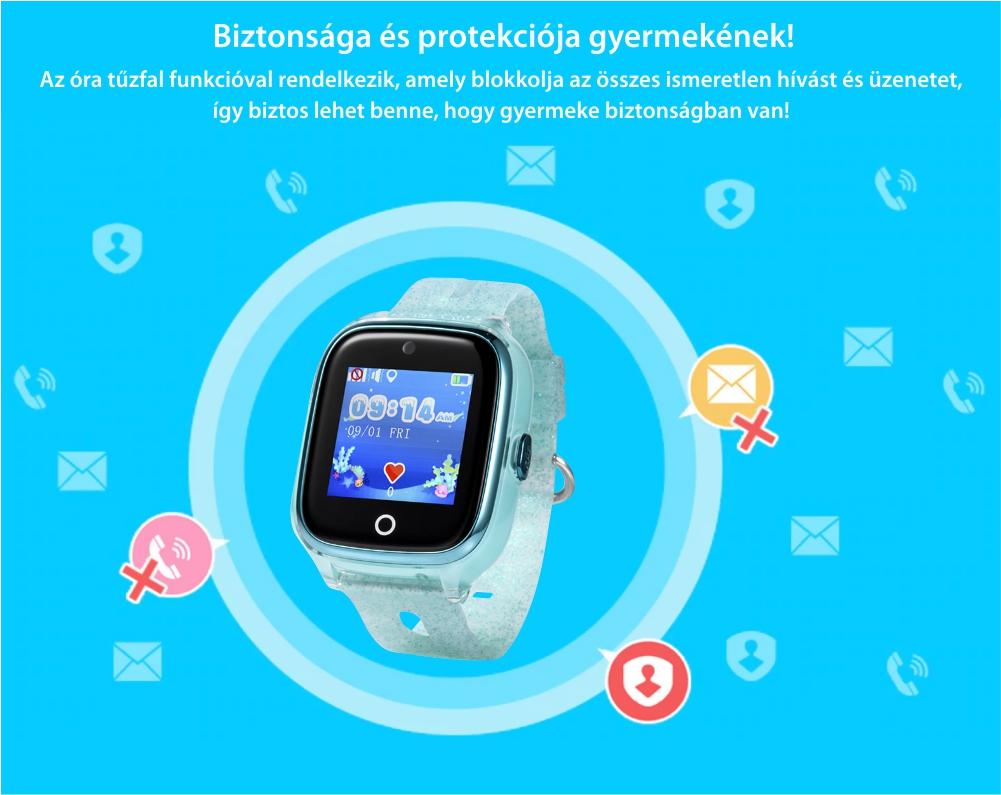 Okosóra gyerekeknek Xkids X10 Tárcsázási funkcióval, GPS Nyomkövetők, Hívásfigyelés, Kamera, Lépésszámláló, SOS, IP54, Rezgés funkció, Halvány rózsaszín
