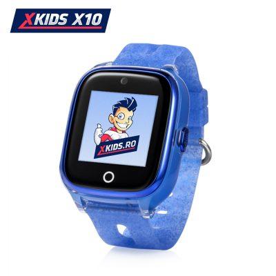 Okosóra gyerekeknek Xkids X10 Tárcsázási funkcióval, GPS Nyomkövetők, Hívásfigyelés, Kamera, Lépésszámláló, SOS, IP54, Rezgés funkció, Kék