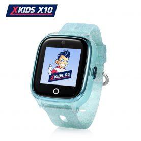 Okosóra gyerekeknek Xkids X10 Tárcsázási funkcióval, GPS Nyomkövetők, Hívásfigyelés, Kamera, Lépésszámláló, SOS, IP54, Rezgés funkció, Türkiz
