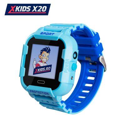 Okosóra gyerekeknek Xkids X20 Tárcsázási funkcióval, GPS követéssel, Hívásfigyeléssel, Kamera, Lépésszámláló, SOS, IP54, Mágneses töltés, Kék