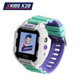 Okosóra gyerekeknek Xkids X20 Tárcsázási funkcióval, GPS követéssel, Hívásfigyeléssel, Kamera, Lépésszámláló, SOS, IP54, Mágneses töltés, Fehér-Zöld
