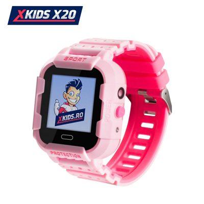 Okosóra gyerekeknek Xkids X20 Tárcsázási funkcióval, GPS követéssel, Hívásfigyeléssel, Kamera, Lépésszámláló, SOS, IP54, Mágneses töltés, Rózsaszín