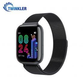 Okosóra Twinkler TKY-P4, Fém, Pulzusmérő funkció, Vérnyomásmérő funkcióval, Véroxigénszint mérési funkcióval, Megtett Távolság, Üzenetkijelző, Időjárás-előrejelzés, Fekete