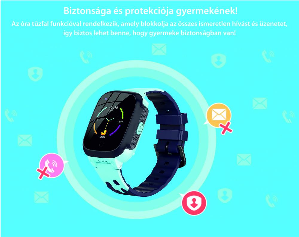 Okosóra gyerekeknek YQT T8 Tárcsázási funkcióval, GPS Nyomkövetők, Útvonal visszakövetése, Hívásfigyelés, Kamera, Android, 4G, Rózsaszín