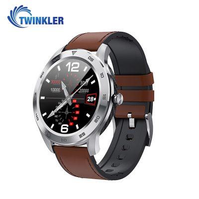 Okosóra Twinkler TKY-SW10 Pulzusmérő funkció, Vérnyomásmérő funkcióval, EKG, Híváselőzmények, Naptár, Bluetooth-szos hívás, Ezüst – Barna