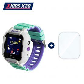 Promóciós csomag okosóra gyerekeknek + üvegvédő fólia, Xkids X20 Tárcsázási funkcióval, GPS követéssel, Hívásfigyeléssel, Kamera, Lépésszámláló, SOS, IP54, Mágneses töltés, Fehér – Zöld