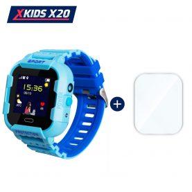 Promóciós csomag okosóra gyerekeknek + üvegvédő fólia, Xkids X20 Tárcsázási funkcióval, GPS követéssel, Hívásfigyeléssel, Kamera, Lépésszámláló, SOS, IP54, Mágneses töltés, Kék