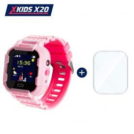 Promóciós csomag okosóra gyerekeknek + üvegvédő fólia, Xkids X20 Tárcsázási funkcióval, GPS követéssel, Hívásfigyeléssel, Kamera, Lépésszámláló, SOS, IP54, Mágneses töltés, Rózsaszín