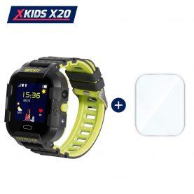 Promóciós csomag okosóra gyerekeknek + üvegvédő fólia, Xkids X20 Tárcsázási funkcióval, GPS követéssel, Hívásfigyeléssel, Kamera, Lépésszámláló, SOS, IP54, Mágneses töltés, Fekete – Citrom Zöld