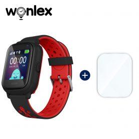 Promóciós csomag gyerekeknek + Üvegvédő fólia, Wonlex KT04 Telefon Funkcióval, GPS-vel, Fényképezőgéppel, Útvonal-előzményekkel, Figyelőhívással, IP54 – Fekete