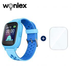 Promóciós csomag gyerekeknek + Üvegvédő fólia, Wonlex KT04 Telefon Funkcióval, GPS-vel, Fényképezőgéppel, Útvonal-előzményekkel, Figyelőhívással, IP54 – Kék