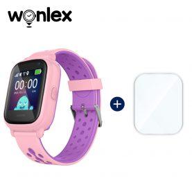 Promóciós csomag gyerekeknek + Üvegvédő fólia, Wonlex KT04 Telefon Funkcióval, GPS-vel, Fényképezőgéppel, Útvonal-előzményekkel, Figyelőhívással, IP54 – Rózsaszín