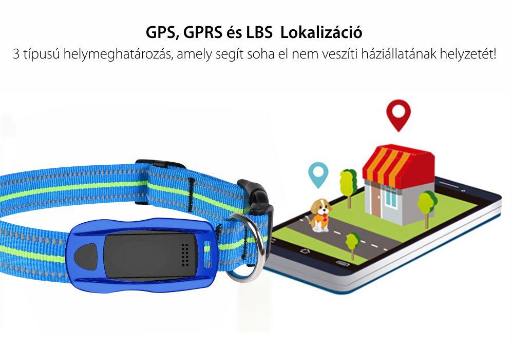 Közepes és nagy kutyák számára nyomkövető nyakörv YQT-Q1, GPS Nyomkövető, Útvonal-előzmények, Biztonsági kerület, Figyelőhívás, Zseblámpa, Kék