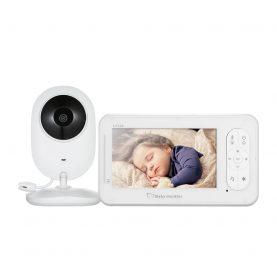Bébiőr BS-W230, Megfigyelő kamera, Vezeték nélküli IR, 4.3″ Képernyővel, Altató dalok, 17 dBm, Kétirányú kommunikáció