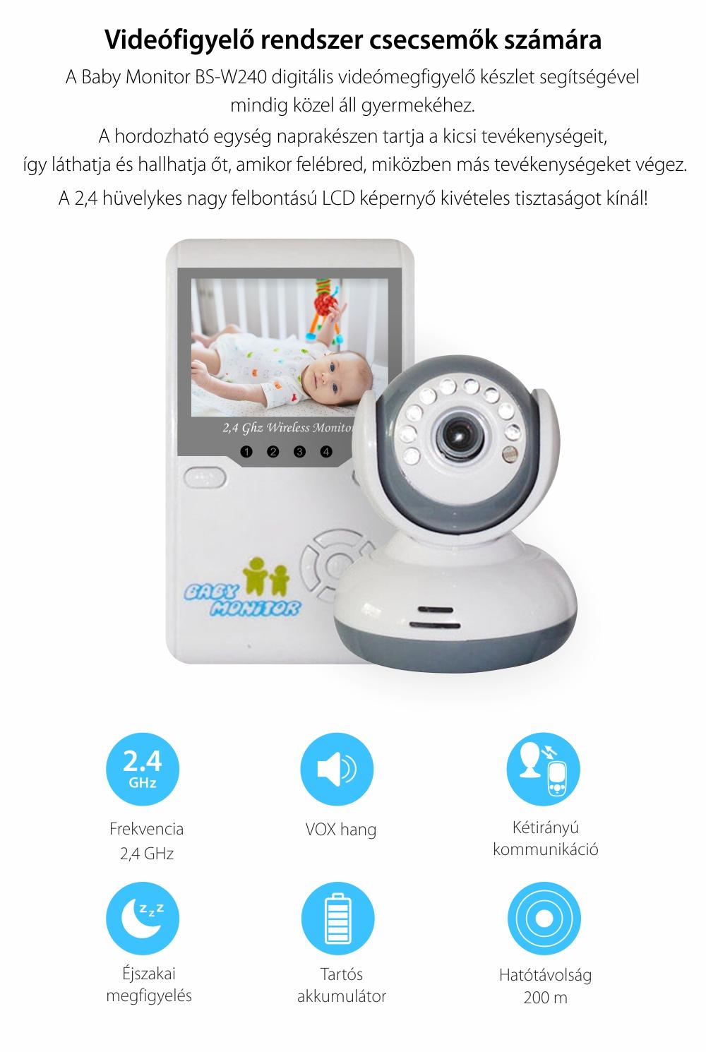 Digitális Bébiőr Készlet, BS-W240, 2,4 GHz LCD, Vezeték nélküli, Éjjellátó, 19 dBm, Infravörös, Vokális Ébresztővel