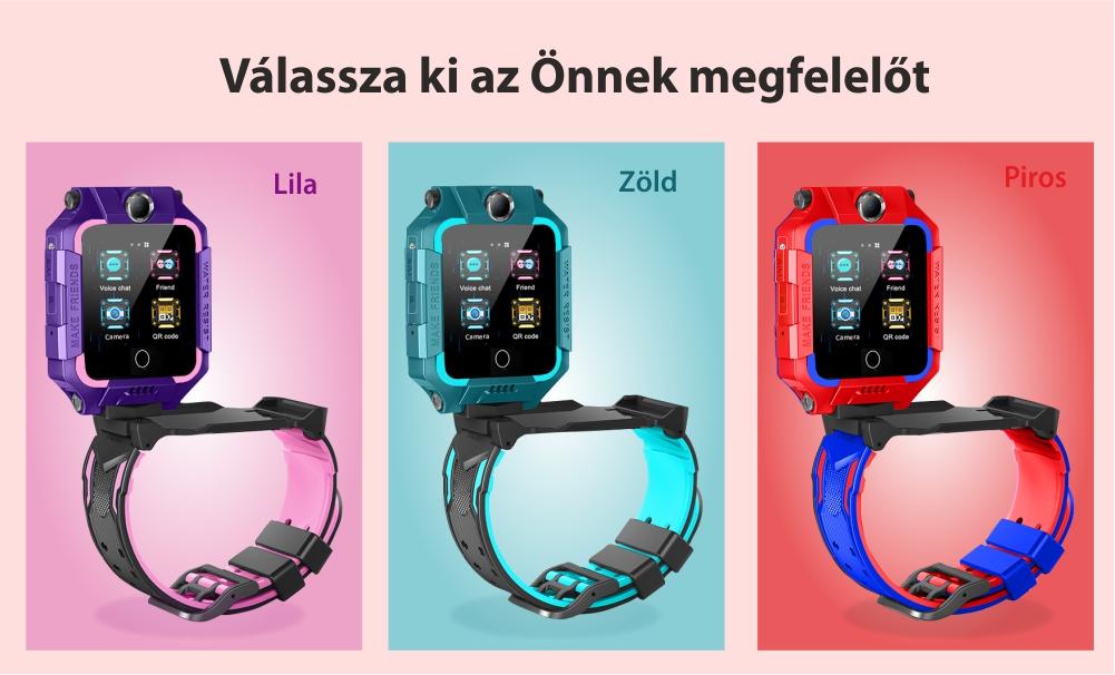 Okosóra gyerekeknek YQT T10-360, 4G, GPS, 360 Fokos elforgatás, Videohívás, Vízálló, Kettős kamera, Zöld