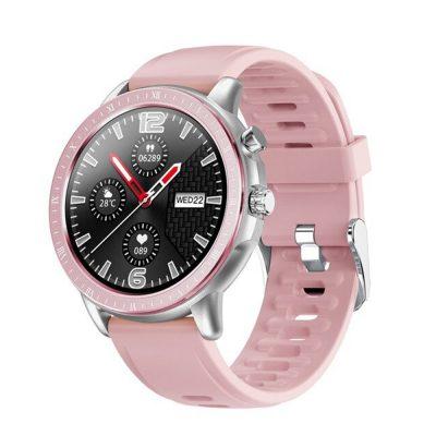 Okosóra TKY-S02, Pulzusmérő funkció, Vérnyomásmérő, Hívás/SMS Értesítések, 23 Sportmód, Bluetooth, Mágneses töltés, Rózsaszín