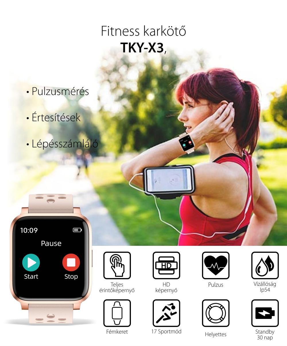 Okosóra Twinkler TKY-X3, Pulzusmérő funkció, Megtett Távolság, Üzenetkijelző, Értesítések, Lépésszámláló, Rózsa arany