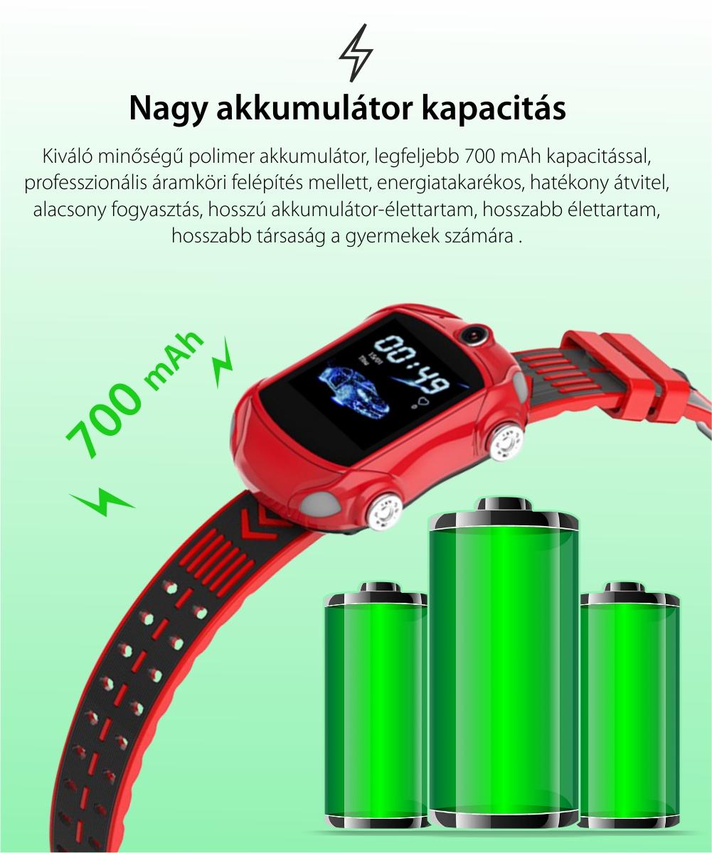 Okosóra gyerekeknek Wonlex KT14, Szuper autó, SIM-kártya, 4G, IP54 vízcsepp álló, Videohívás, Piros