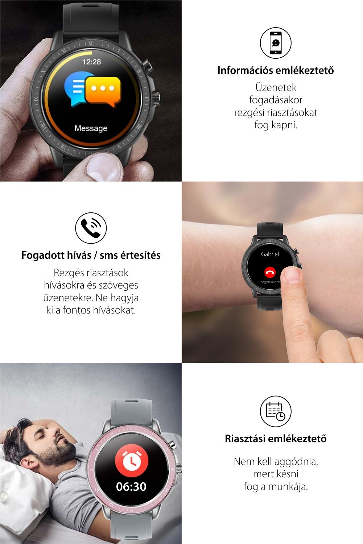 Okosóra TKY-S02, Pulzusmérő funkció, Vérnyomásmérő, Hívás/SMS Értesítések, 23 Sportmód, Bluetooth, Mágneses töltés, Ezüst