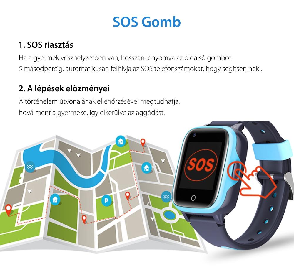 Okosóra gyerekeknek Wonlex KT15, SIM-kártya foglalat, 4G, Vízállóság IP54, Videohívás, SOS Gomb, Hívás funkció, GPS Nyomkövető, Rezgési funkció, Kék