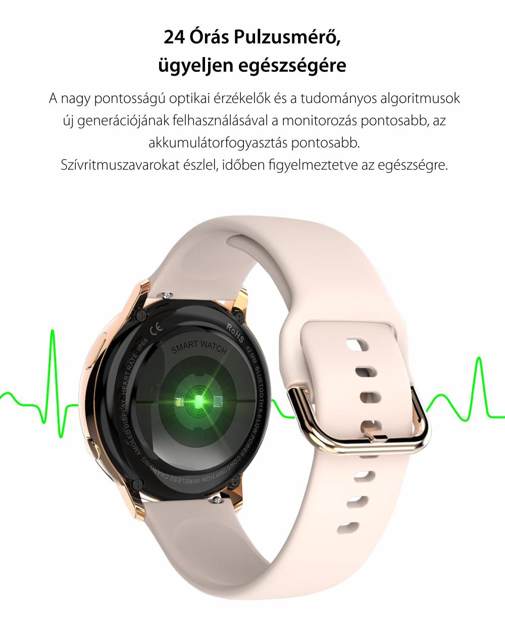 Okosóra TKY-SG2 Pulzusmérő funkció, Vérnyomásmérő, Véroxigénszint mérési funkcióval, Hívás/SMS Értesítések, AMOLED képernyő, 10 Sportmód, Bluetooth, Mágneses töltés, Rózsaszín