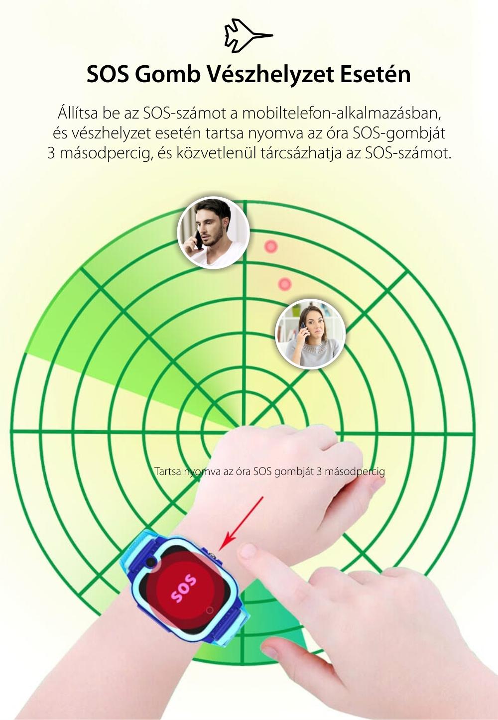 Okosóra gyerekeknek Wonlex KT13, SIM kártya foglalat, 4G, Vízállóság IP54, Videohívás, SOS Gomb, Kétirányú kommunikáció, GPS Nyomkövető, Kék