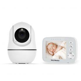Bébiőr BS-W32P Vezeték nélküli, Audio-Video megfigyelés, Hőmérséklet-figyelés, Forgatható Kamera, Kétirányú kommunikáció, Altatódalok, Éjszakai látás, Fehér