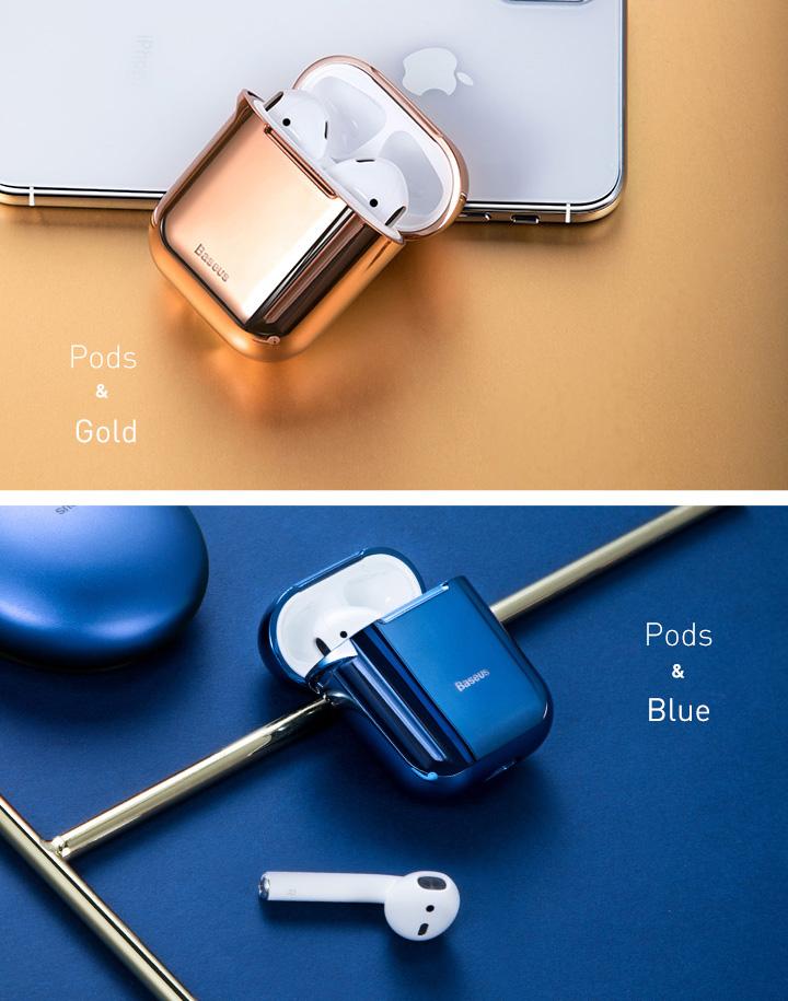 Apple AirPods 1/2 védőtok, Baseus Shining Hook, Fekete, Fém karabélyt tartalmaz