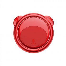 Telefon tartó Baseus Ring Bear, Vastagság 3 mm, Két irányban forgatható, Piros